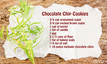 Chocolate chip cookies recipe on a white paper with a green leaf wooden background photo