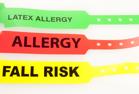 Latex Allergy,Allergy, And Fall Risk Patent Bracelets isolated on white
