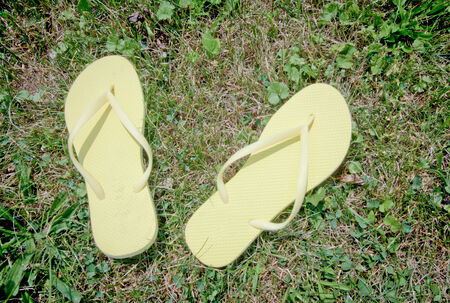 Yellow flip-flops sitting in the grass