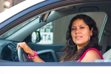 30 woman driving a car  Stock Photo