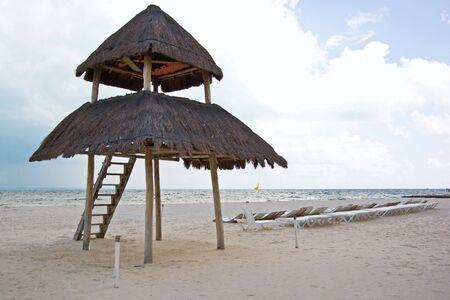 palapa: palapa in the beach of caribbean cancun