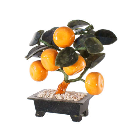 tangerine tree: Artificial tangerine tree Stock Photo