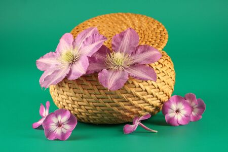 Basket with   flowers on a green  background photo