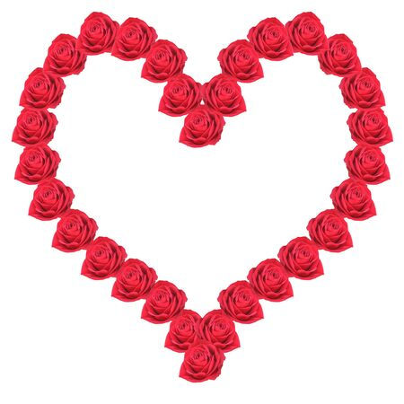 Heart from red roses on a white background