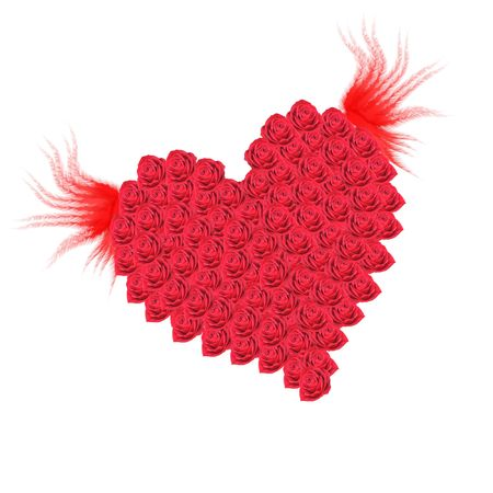 Heart with wings on a white background Stock Photo
