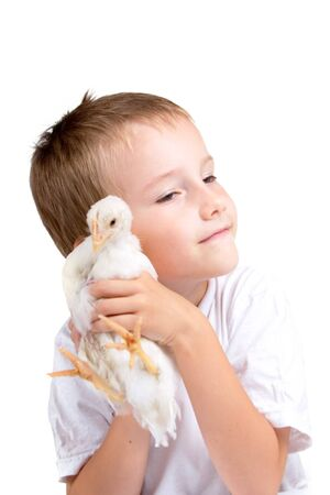 Funny boy with chicken, isolated on a white background
