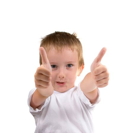 Two thumb up, portrait of  boy on a white background Stock Photo - 7583768