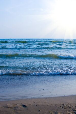 Beautiful sea and sun in a hot summer day Stock Photo