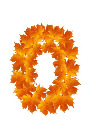 Letter O from orange autumn maple leaves