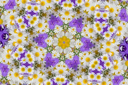 Kaleidoscope with chamomiles and campanulas, abstract background