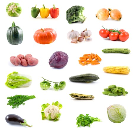 Big collection of vegetables on a white background Stock Photo