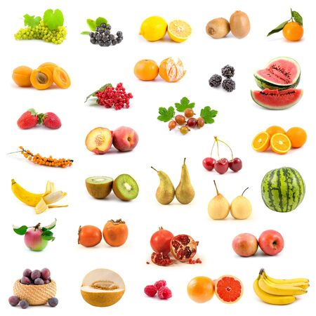 Big collection of fruits on a white background
