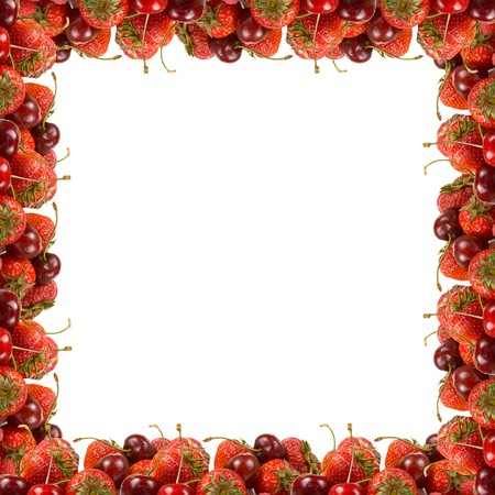 frame of ripe red berries on a white background