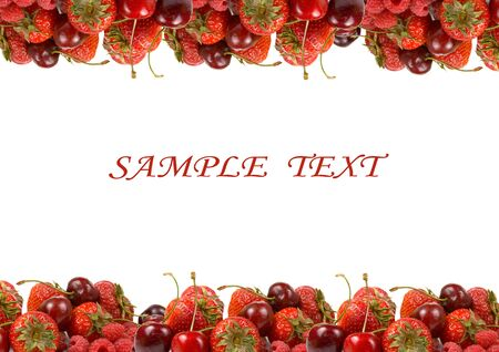 Border of ripe red berries on a white background photo