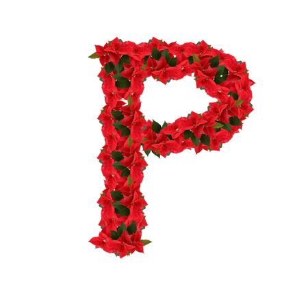 Letter P from the red flowers isolated on white background photo