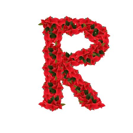Letter R from the red flowers isolated on white background photo