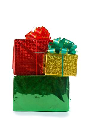 donative: Multi-colored boxes with presents isolated on white background
