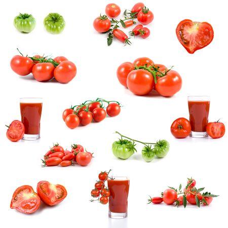 Set of tomatos and tomato juices isolated on a white background Stock Photo