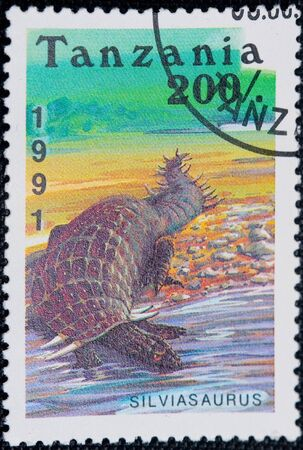 Tanzania - CIRCA 1991: a stamp printed by Tanzania shows dinosaur Silviasaurus, circa 1991 Stock Photo - 8099376