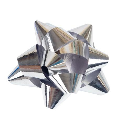 donative: Silver ribbon isolated on white background Stock Photo