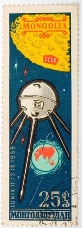 Mongolian- CIRCA 1975: A stamp printed by Mongolia shows the sputnik Lunik II , circa 1975 Stock Photo