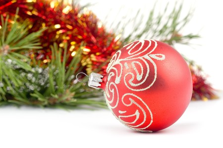 Red christmas ball isolated on white background Stock Photo - 8184817