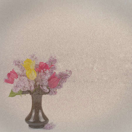 Textured old paper background with flowers photo