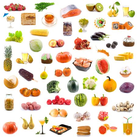 Big collection of food on white background