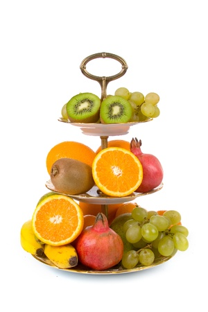 Fresh fruit on a plate on a white background photo