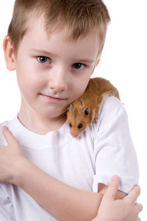 Boy with a  hamster on a white background