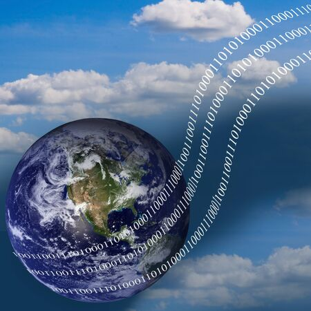 Planet and digital stream.Concept of technological progress Stock Photo - 9399258