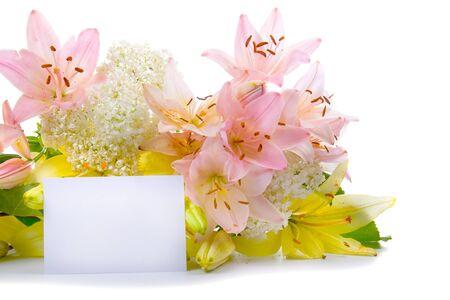Tarjeta de felicitaci�n para felicitaciones con flores sobre un fondo blanco Foto de archivo - 9398883