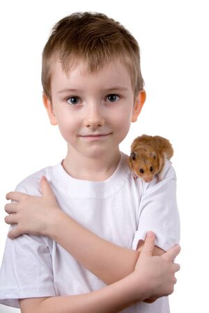 Boy with a  hamster on a white background photo