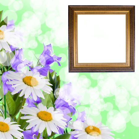 Beautiful flowes and frame on a green abstract background  photo