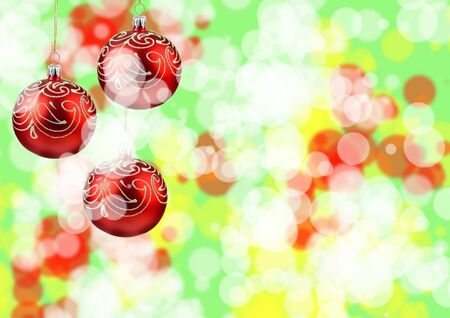Christmas ornaments on a beautiful abstracts background with defocused lights