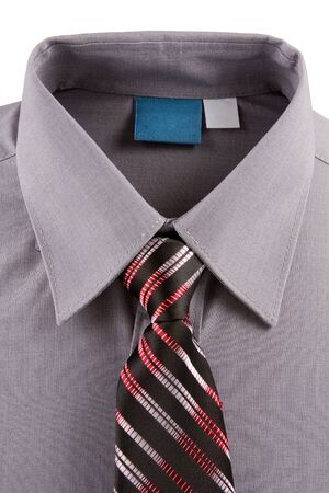 un used: Gray business shirt and tie isolated on a white background