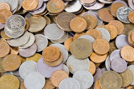 Many different coins close-up, financial concept