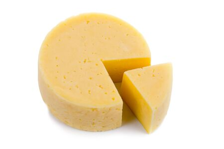 queso: Corte el queso ronda aisladas sobre fondo blanco Foto de archivo