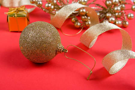 Christmas decor on a red background Stock Photo