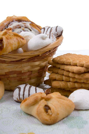 Cookies in a basket on a white background photo