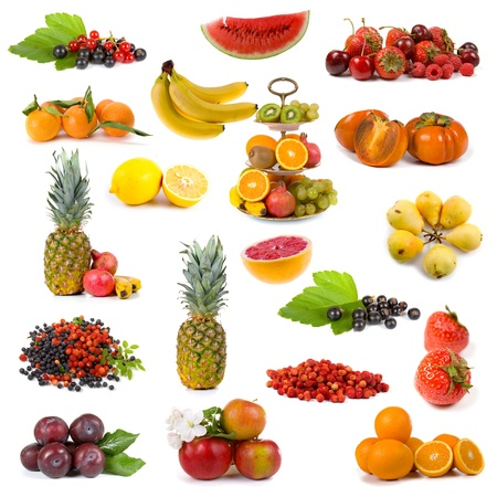 Big collection of fruits on a white background photo