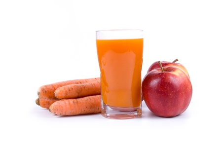 Apple-carrot juice isolated on a white background