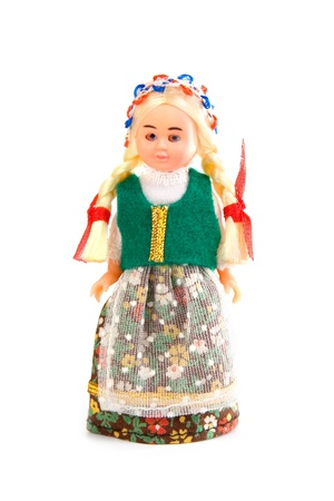Doll in the Polish national costume on a white background Stock Photo