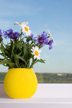 Beautiful bouquet of flowers on the window photo