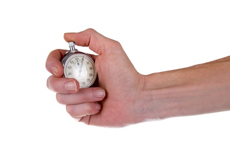 Mans hand holding stopwatch, isolated on a white background.  photo