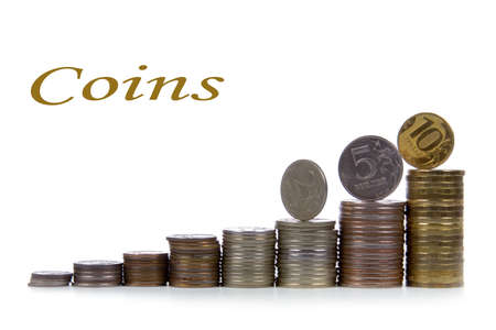 Ladder from coins isolated on a white background Stock Photo - 12362690