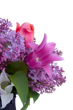 Bouquet of spring flowers in a vase on a white background Stock Photo - 12725577