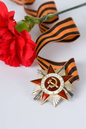 Order of the Patriotic War in St. Georges Ribbon  on a gray background  photo