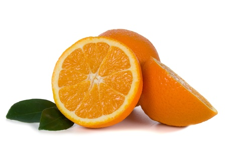 Ripe oranges isolated on white background Stock Photo