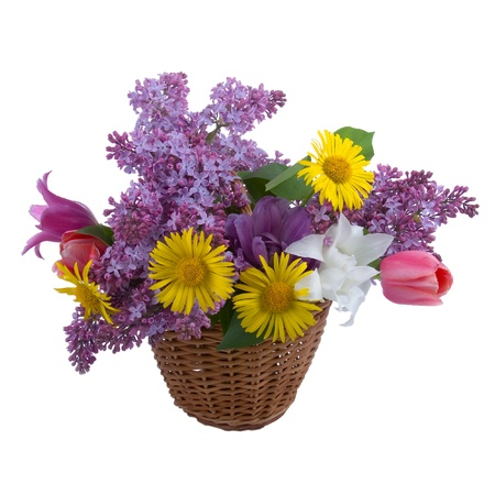 Bouquet of spring flowers in a basket on a white background photo